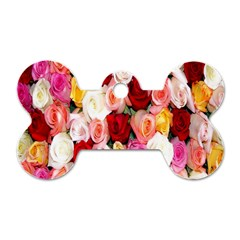 Rose Color Beautiful Flowers Dog Tag Bone (one Side)