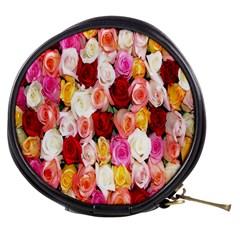 Rose Color Beautiful Flowers Mini Makeup Bags