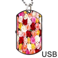 Rose Color Beautiful Flowers Dog Tag Usb Flash (two Sides)