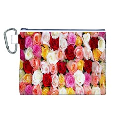 Rose Color Beautiful Flowers Canvas Cosmetic Bag (l)
