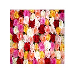 Rose Color Beautiful Flowers Small Satin Scarf (square)