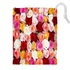 Rose Color Beautiful Flowers Drawstring Pouches (xxl)