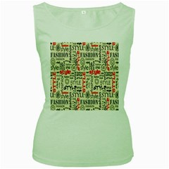 Backdrop Style With Texture And Typography Fashion Style Women s Green Tank Top