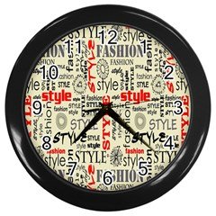 Backdrop Style With Texture And Typography Fashion Style Wall Clocks (black)