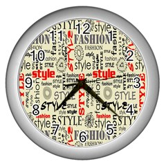 Backdrop Style With Texture And Typography Fashion Style Wall Clocks (silver)