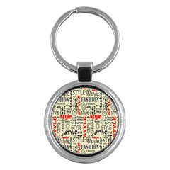 Backdrop Style With Texture And Typography Fashion Style Key Chains (round)