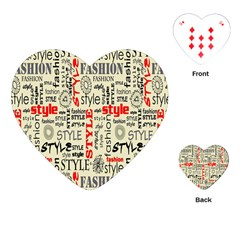 Backdrop Style With Texture And Typography Fashion Style Playing Cards (heart)