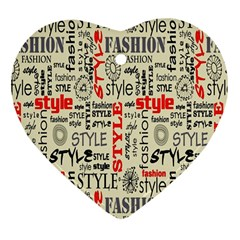 Backdrop Style With Texture And Typography Fashion Style Heart Ornament (two Sides)