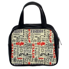 Backdrop Style With Texture And Typography Fashion Style Classic Handbags (2 Sides)