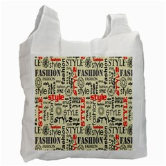 Backdrop Style With Texture And Typography Fashion Style Recycle Bag (two Side)