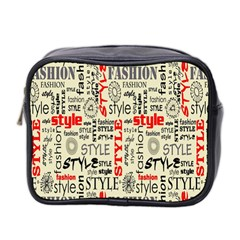 Backdrop Style With Texture And Typography Fashion Style Mini Toiletries Bag 2 Side