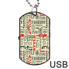 Backdrop Style With Texture And Typography Fashion Style Dog Tag Usb Flash (one Side)