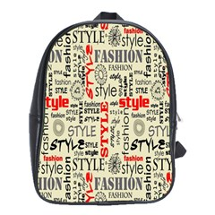 Backdrop Style With Texture And Typography Fashion Style School Bags (xl)