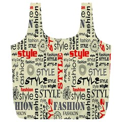 Backdrop Style With Texture And Typography Fashion Style Full Print Recycle Bags (l)
