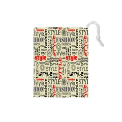 Backdrop Style With Texture And Typography Fashion Style Drawstring Pouches (small)