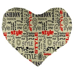 Backdrop Style With Texture And Typography Fashion Style Large 19  Premium Flano Heart Shape Cushions