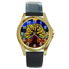 Tree Of Life Round Gold Metal Watch