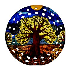 Tree Of Life Round Filigree Ornament (two Sides)
