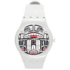 Ethnic Traditional Art Round Plastic Sport Watch (m)