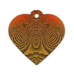 Fractal Pattern Dog Tag Heart (one Side)