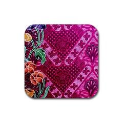Pink Batik Cloth Fabric Rubber Coaster (square)