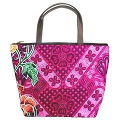 Pink Batik Cloth Fabric Bucket Bags