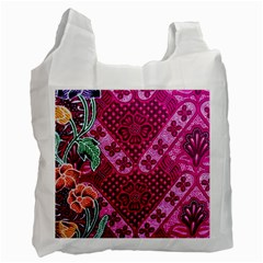 Pink Batik Cloth Fabric Recycle Bag (two Side)