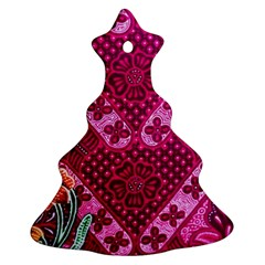 Pink Batik Cloth Fabric Ornament (christmas Tree)