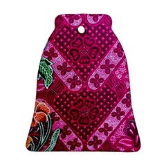 Pink Batik Cloth Fabric Bell Ornament (two Sides)