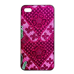 Pink Batik Cloth Fabric Apple Iphone 4/4s Seamless Case (black)