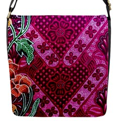 Pink Batik Cloth Fabric Flap Messenger Bag (s)