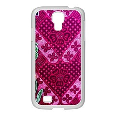 Pink Batik Cloth Fabric Samsung Galaxy S4 I9500/ I9505 Case (white)