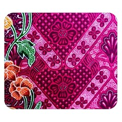 Pink Batik Cloth Fabric Double Sided Flano Blanket (small)