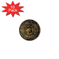 Gold Roman Shield Costume 1  Mini Buttons (10 Pack)