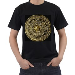 Gold Roman Shield Costume Men s T Shirt (black) (two Sided)