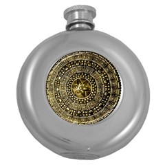 Gold Roman Shield Costume Round Hip Flask (5 Oz)