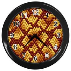 Snake Skin Pattern Vector Wall Clocks (black)