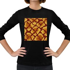 Snake Skin Pattern Vector Women s Long Sleeve Dark T Shirts