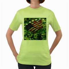 Usa United States Of America Images Independence Day Women s Green T Shirt