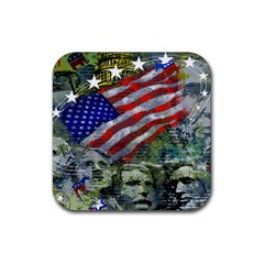 Usa United States Of America Images Independence Day Rubber Square Coaster (4 Pack)