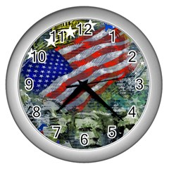 Usa United States Of America Images Independence Day Wall Clocks (silver)