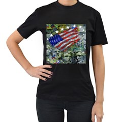 Usa United States Of America Images Independence Day Women s T Shirt (black) (two Sided)