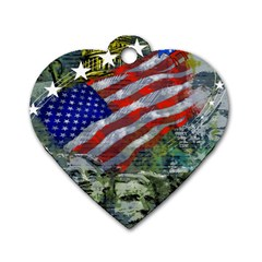 Usa United States Of America Images Independence Day Dog Tag Heart (two Sides)