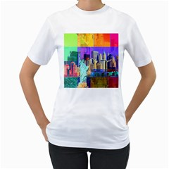 New York City The Statue Of Liberty Women s T Shirt (white) (two Sided)