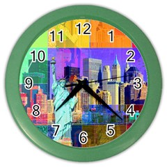 New York City The Statue Of Liberty Color Wall Clocks