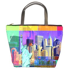New York City The Statue Of Liberty Bucket Bags