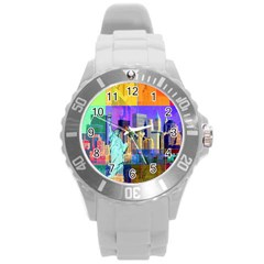 New York City The Statue Of Liberty Round Plastic Sport Watch (l)