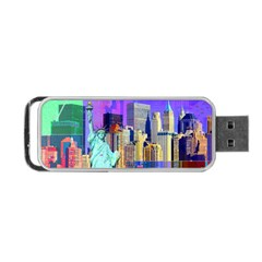 New York City The Statue Of Liberty Portable Usb Flash (one Side)