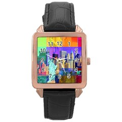 New York City The Statue Of Liberty Rose Gold Leather Watch