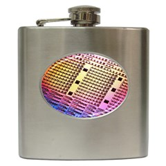 Optics Electronics Machine Technology Circuit Electronic Computer Technics Detail Psychedelic Abstra Hip Flask (6 Oz)